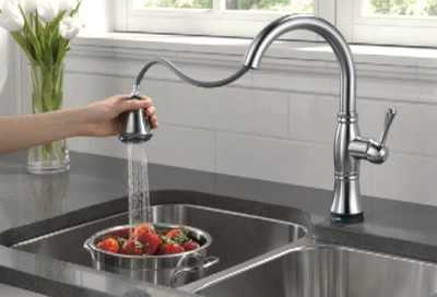 technology touch single ar on dst with stainless faucet down dp kitchen trinsic spout delta handle spring arctic faucets pull pro