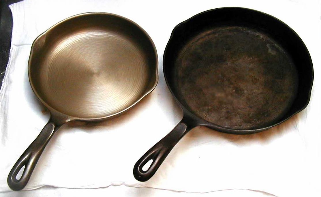 clean vs dirty cast iron cookware